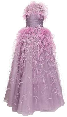 Marchesa Ostrich Feather Tulle Strapless Gown