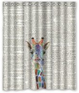 """Animal Series Shower Curtain 60""""(w) x 72""""(h) Hot Sale Giraffe Art on Vintage Dictionary Theme Picture 100% Polyester Bathroom Shower Curtain Shower Rings Included"""
