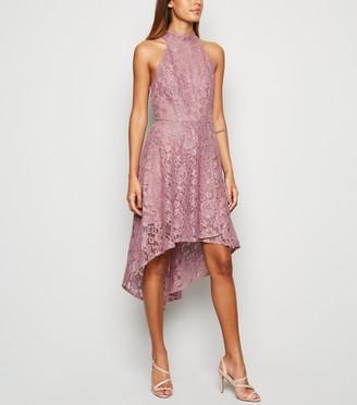 New Look Mela Lace Dip Hem Halter Neck Dress