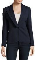 Helene Berman Jersey Ruffled Lapel Fashion Blazer