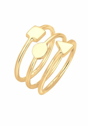 Elli Women 925 Sterling Silver Gold Plated Geo Ring - Size Q 0602210916
