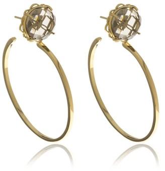 Georgina Jewelry Gold Smoky Signature Hoops Crystal Earrings