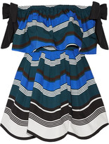 Fendi Off-the-shoulder Bow-embellished Striped Cotton-poplin Mini Dress - Bright blue
