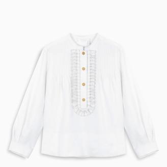 Chloé White embroidered gabardine blouse