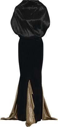 Roland Mouret Nola Tie-back Lame-paneled Plisse Silk-blend Gown