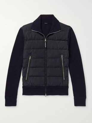 Tom Ford Slim-fit Panelled Ribbed Wool And Quilted Shell Down Jacket - Blue