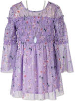Speechless Floral Print Smocked Top w Necklace - Girls' 7-16