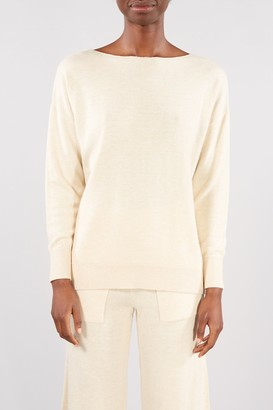 Selected BIRCH CREAM MELANGE NAYA BOATNECK TOP - LARGE