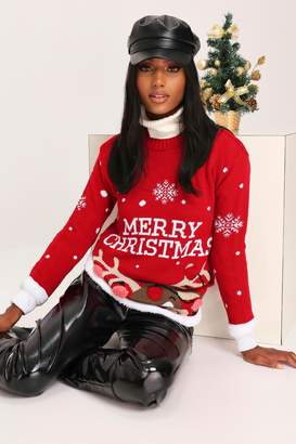 I SAW IT FIRST Red Pom Pom Reindeer Knitted Jumper