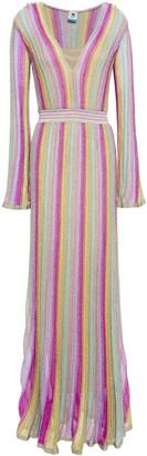 M Missoni Metallic Striped Crochet-knit Maxi Dress