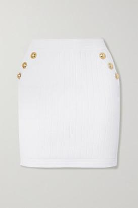 Balmain Button-embellished Ribbed Stretch-knit Mini Skirt - White