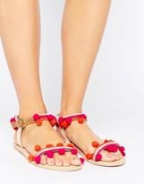 Boohoo Pom Pom Trim Flat Sandal