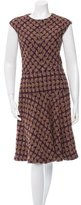 Oscar de la Renta Cap Sleeve Tweed Dress