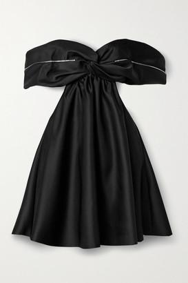 Area Off-the-shoulder Embellished Duchesse-satin Mini Dress - Black