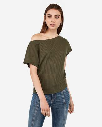 Express Soft Waffle Knit Off The Shoulder Tee