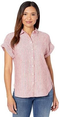 Lauren Ralph Lauren Striped Linen Dolman-Sleeve Shirt (Orient Red/White) Women's Clothing
