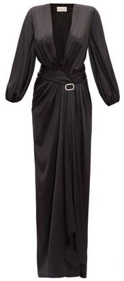 Alexandre Vauthier Deep V-neck Satin Long Dress - Womens - Black