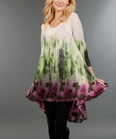 Aster Green & Pink Floral Hi-Low Tunic - Plus Too
