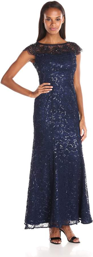 Ignite Women's Mesh Illusion Sequened Evening Dress