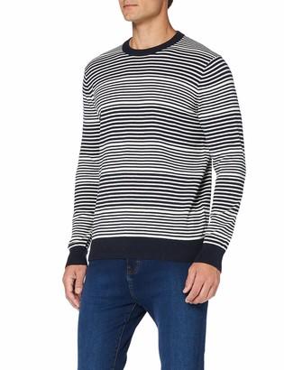 Meraki Amazon Brand Men's Striped Cotton Crew Neck Jumper