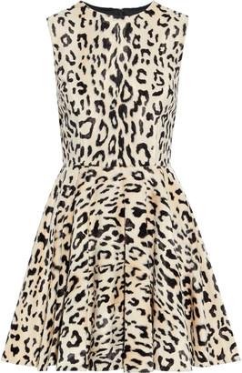 Dolce & Gabbana Flared Leopard-print Cotton-blend Faux Fur Mini Dress