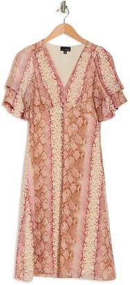 Lucy Paris Cynthia Button Front Snake Print Midi Dress