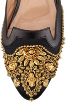 Oscar de la Renta Spanish Sequin-Embellished Satin Mule, Black