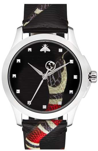 Gucci Snake Insignia Leather Strap Watch, 40mm