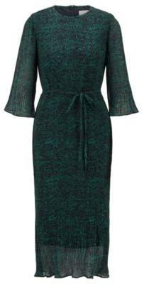 HUGO BOSS Dot Print Plisse Dress With Volant Details - Patterned