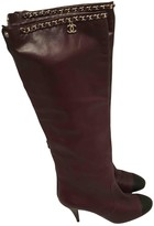 Chanel Burgundy Leather Boots