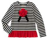Kate Spade Girls' Striped Tee with Ruffled Hem - Little Kid