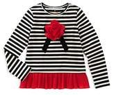 Kate Spade Girls' Striped Tee with Ruffled Hem - Little Kid