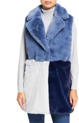 Heurueh Colorblock Faux Fur Vest