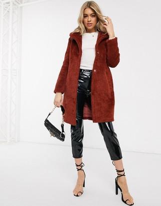 AX Paris longline borg teddy coat