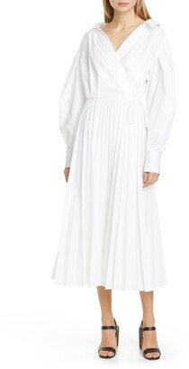 Valentino Pleated Long Sleeve Midi Wrap Dress