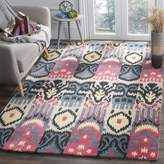 Safavieh Ikat Collection IKT466A Handmade and Blue Wool Square Area Rug, 6 feet Square (6' Square)