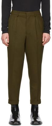 Ami Alexandre Mattiussi Green Wool Pleated Carrot Trousers