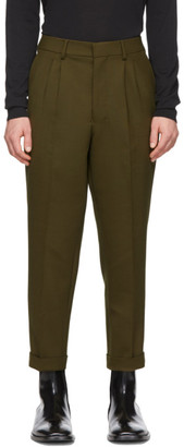 Ami Alexandre Mattiussi Green Wool Pleated Carrot Trousers