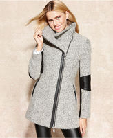 Calvin Klein Faux-Leather-Trim Heathered Coat