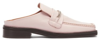 Martine Rose Curb-chain Square-toe Leather Loafers - Light Pink