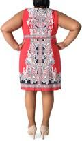 Thumbnail for your product : Sandra Darren Paisley Sleeveless Tie Waist Shift Dress