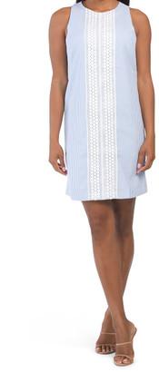 Seersucker Shift Dress With Crochet Detail