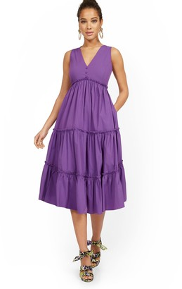 New York & Co. Ruffle-Tier V-Neck Dress