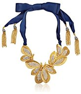 Ben-Amun Jewelry Crystal and Gold-Tone Floral on Ribbon Necklace