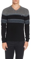 Original Penguin Engineered Stripe Lambswool V-Neck Sweater