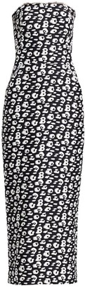 Brandon Maxwell Strapless Jacquard Animal Print Tea-Length Dress