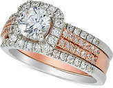 Macy's Diamond Halo Bridal Set (1-5/8 ct. t.w.) in 14k White and Rose Gold