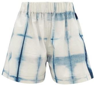 Story mfg. Yeah Tie-dye Organic-cotton Shorts - Womens - Blue White