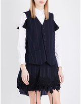 Sacai Pinstripe cotton waistcoat dress
