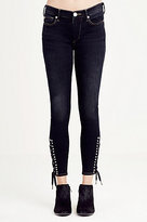 True Religion Halle Cropped Lace Up Ankle Super Skinny Womens Jean